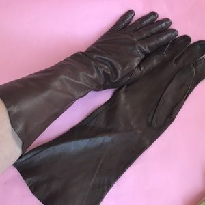 Vintage brown long leather gloves